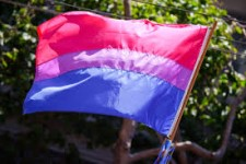 Image of the Bisexual Pride flag, with pink, purple, and blue stripes, flying in front of a background of green leaves